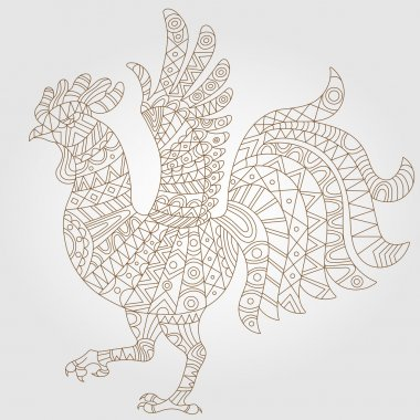 Contour illustration of abstract rooster, dark outline on a light background