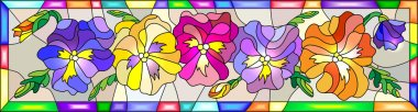 Illustration in stained glass style with flowers, buds and leaves of pansy