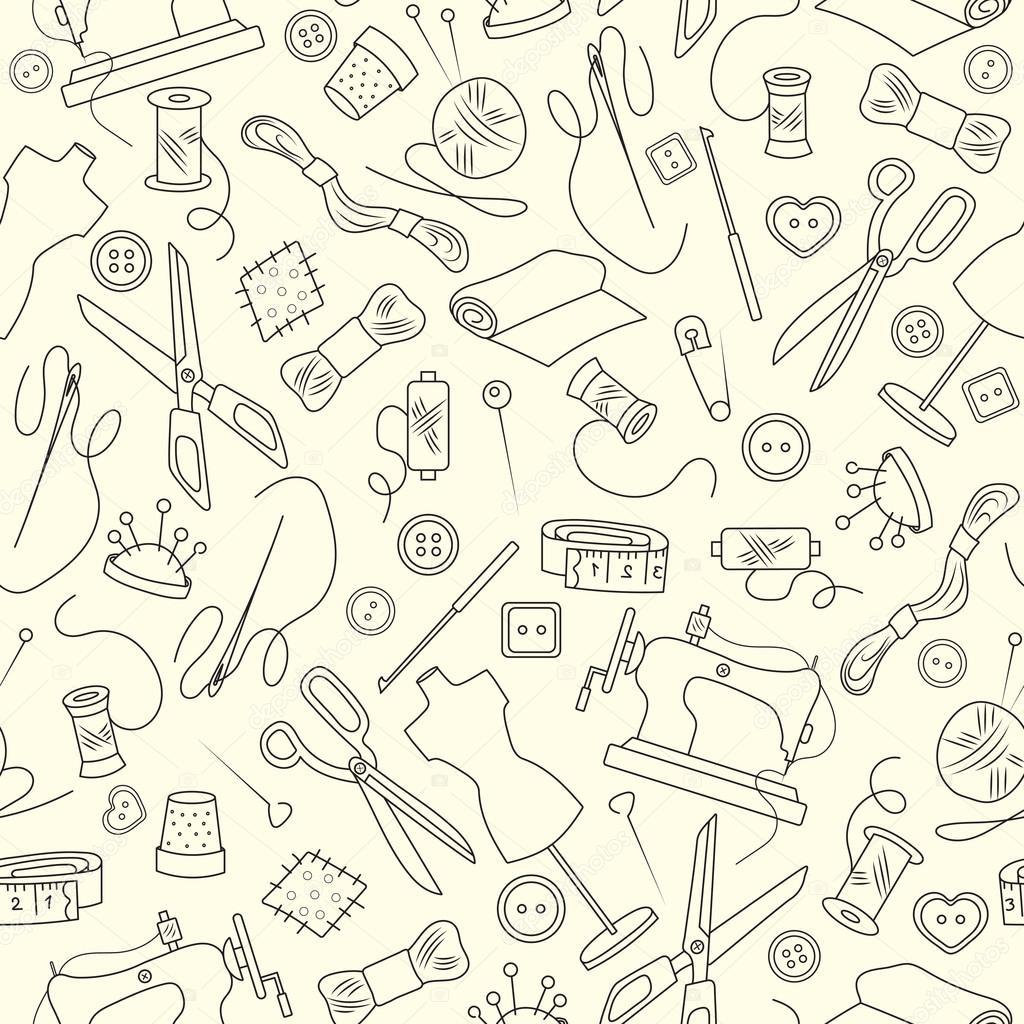 Nahtlose Muster auf dem Thema von Handarbeiten und Nähen, einfache ...
