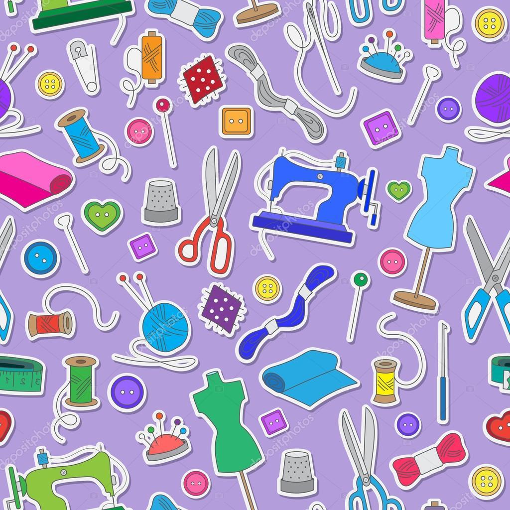 Nahtlose Muster zum Thema Handarbeiten und Nähen, einfache farbige ...