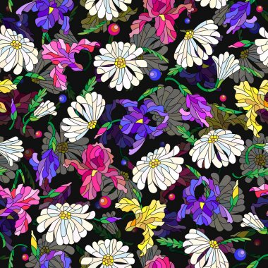 Seamless pattern with spring flowers in stained glass style, flowers, buds and leaves of  daisies and irises on a dark background