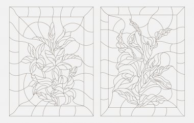 Set contour illustrations in the stained glass style, Calla lilies and bluebells flowers , dark outline on a white background