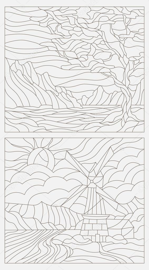 Set contour illustrations of stained glass, the tree against the sky , rivers and mountains, a mill in the background , and river and sky