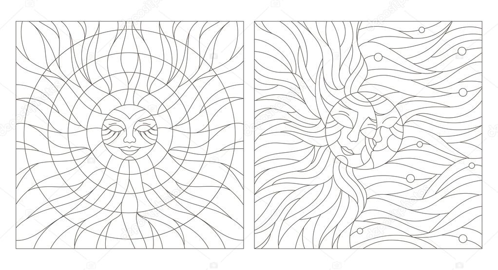 Set contour illustration of stained glass Windows with the heavenly bodies