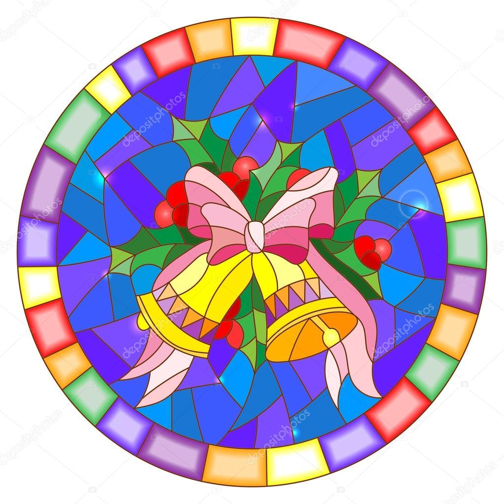 Abbildung im Stil der Glasmalerei mit Weihnachtsglocken, Holly ...