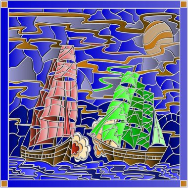 Seascape in the stained glass style battle with two sailboats in the sky and sunset