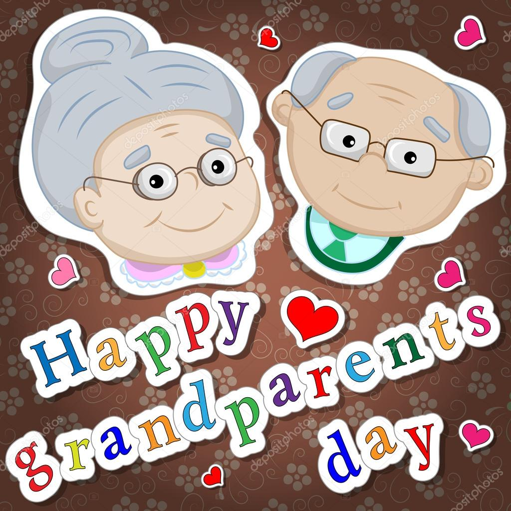 Greetings On Grandparents Day With The Phrase And Face Of