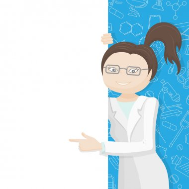 Woman doctor in a lab coat points to a blank banner on a blue background with icons on a theme medicine