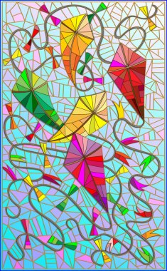 Colorful kites in the sky in the stained glass style