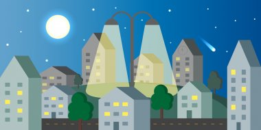 City night scenery with street lamp and falling comet , flat design