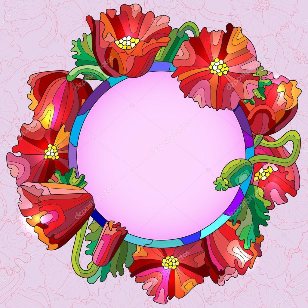 Marco redondo de flores, hojas y brotes de amapolas rojas en el ...