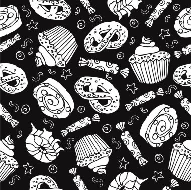 Seamless pattern with sweets and desserts: cupcake,donut, pretzel. Cartoon style vector.