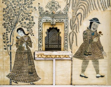"""Картина, постер, плакат, фотообои """"рисунок мбаппе в городском дворце, удайпур, индия изображение цветы"""", артикул 62559635"""