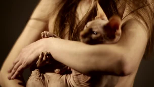 schönes nacktes Mädchen mit Hut, das eine Sphynx-Katze auf Händen hält