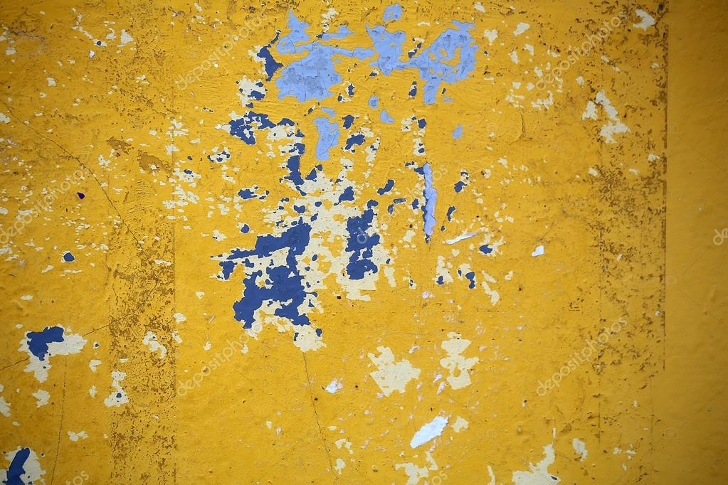 Yellow blue white paint peeling — Stock Photo © Tverdohlib.com ...