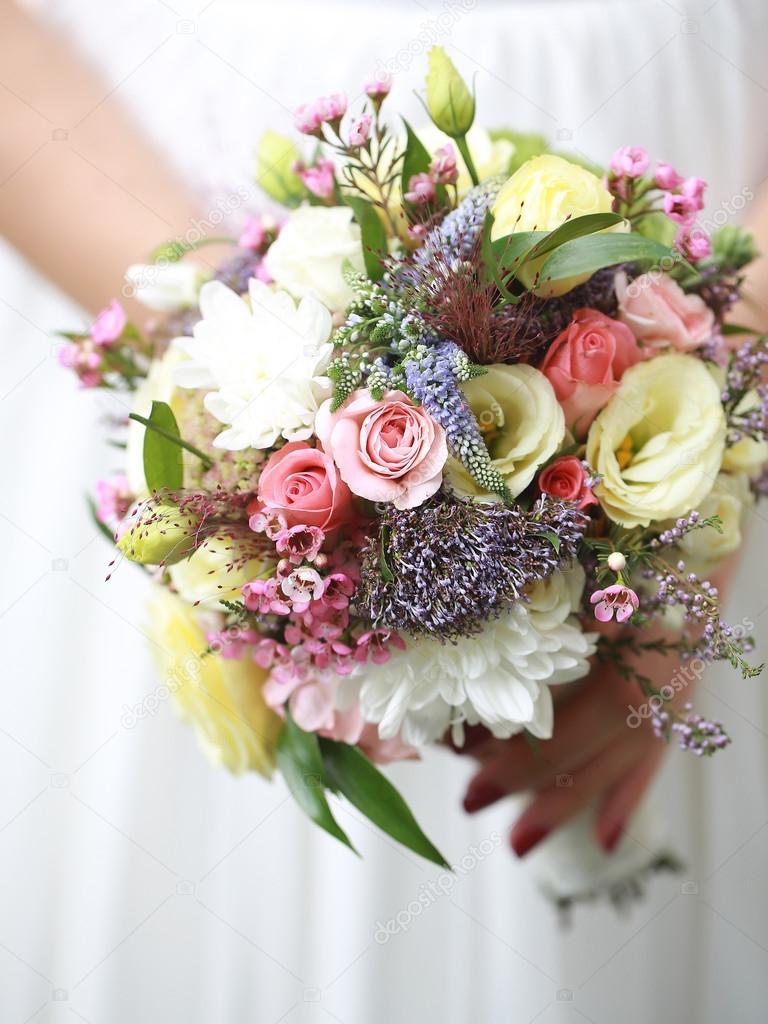 Bride with wedding flower bouquet stock photo tverdohlib bride with wedding flower bouquet stock photo izmirmasajfo