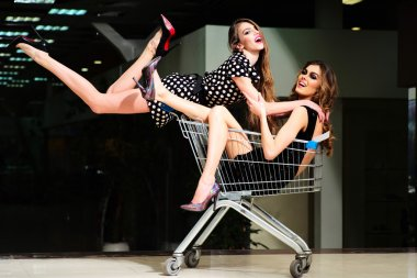 Two pretty girls in shopping trolley