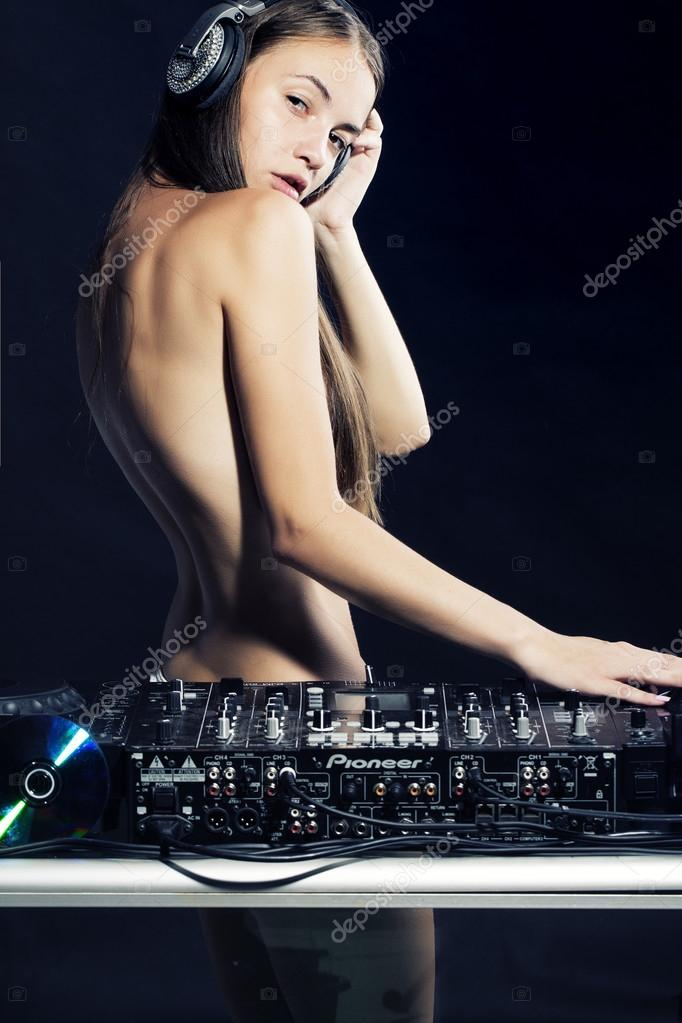 naked girl with dj equipment