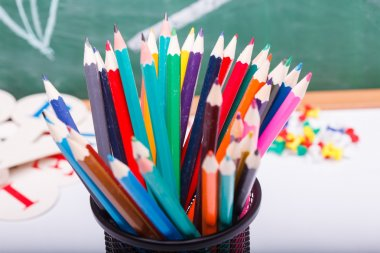 Colorful stationary at school class