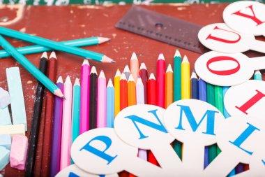 Colorful stationary on desk