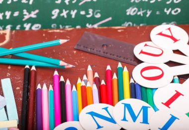 Colorful stationary on desk