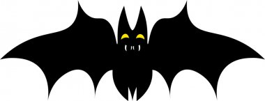 Vector silhouette illustration of one drawn black color flying bat