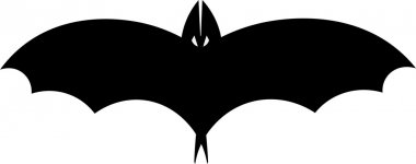 Vector silhouette illustration of one drawn black color flying batman