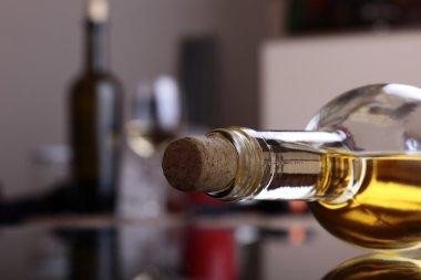 Uncorked bottle of white wine