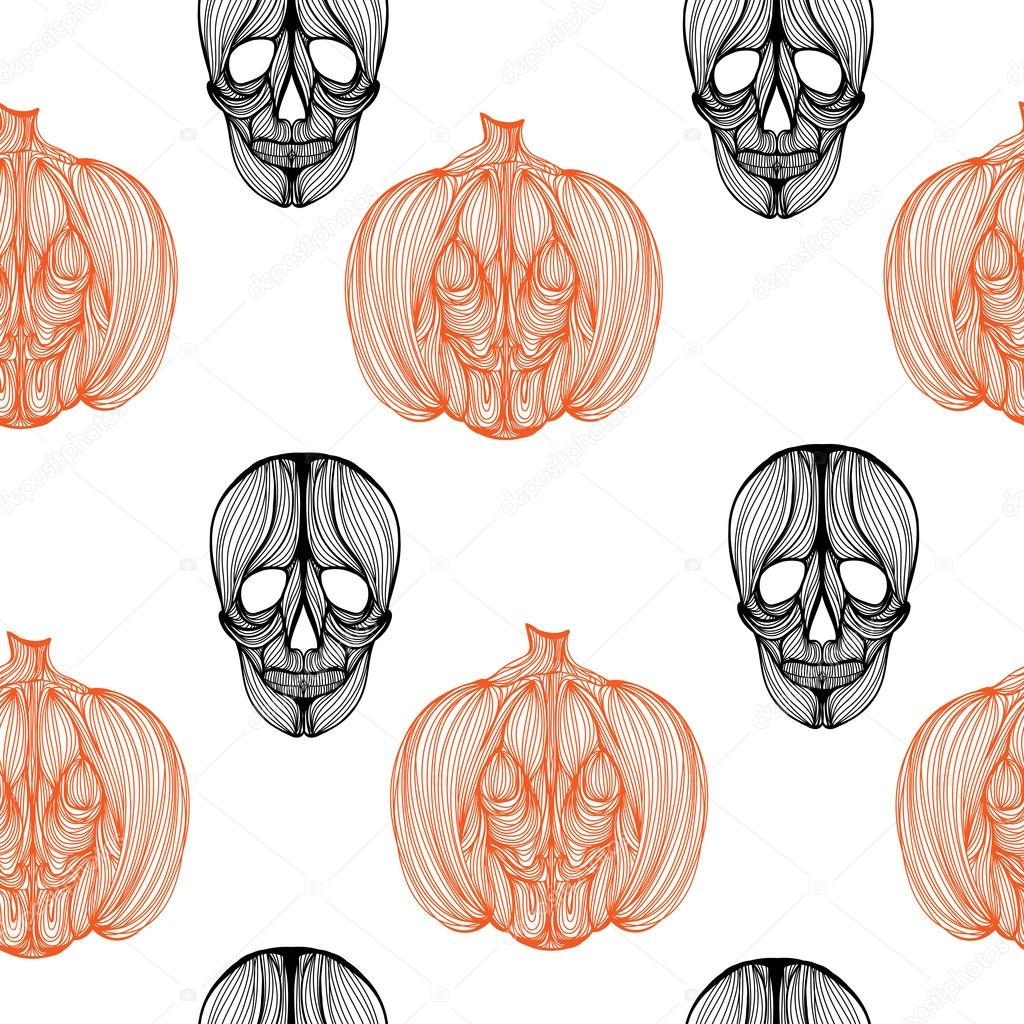 Fondos de pantalla de calabaza de cráneo — Vector de stock ...
