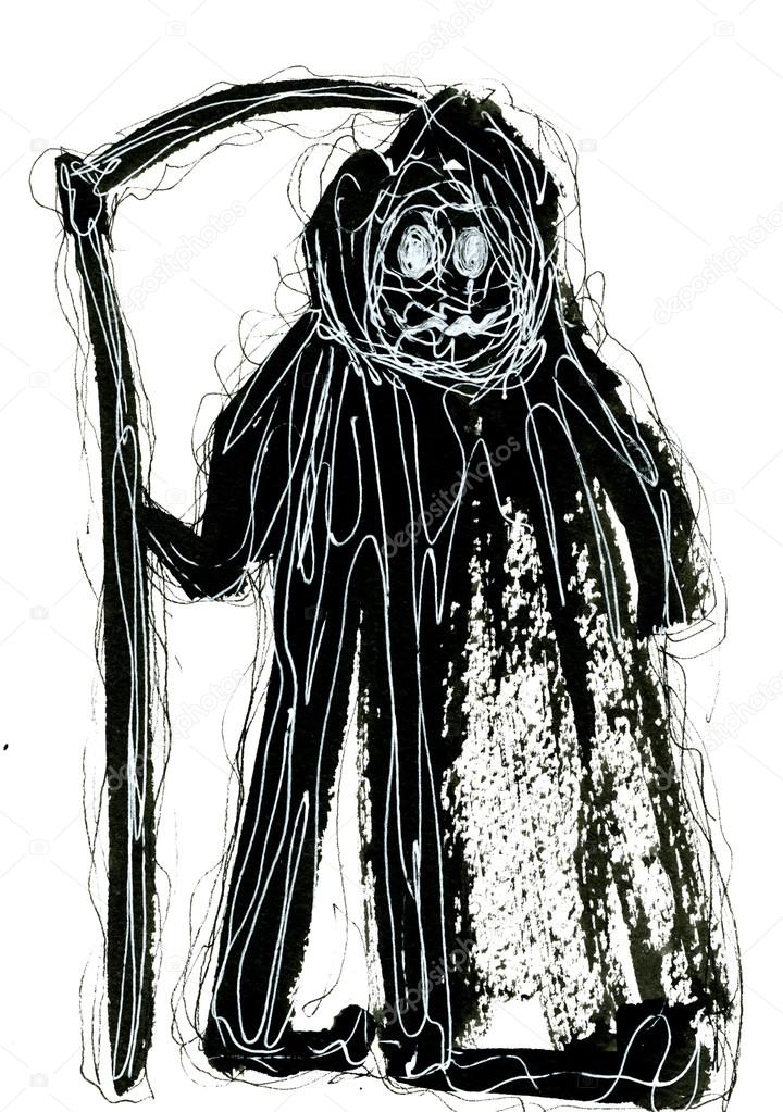 Abstract wicked grim reaper watercolour tverdohlib abstract art closeup creative watercolour wash drawing aquarelle hand drawn of wicked grim reaper wearing black mackintosh black and white colors on white voltagebd Images