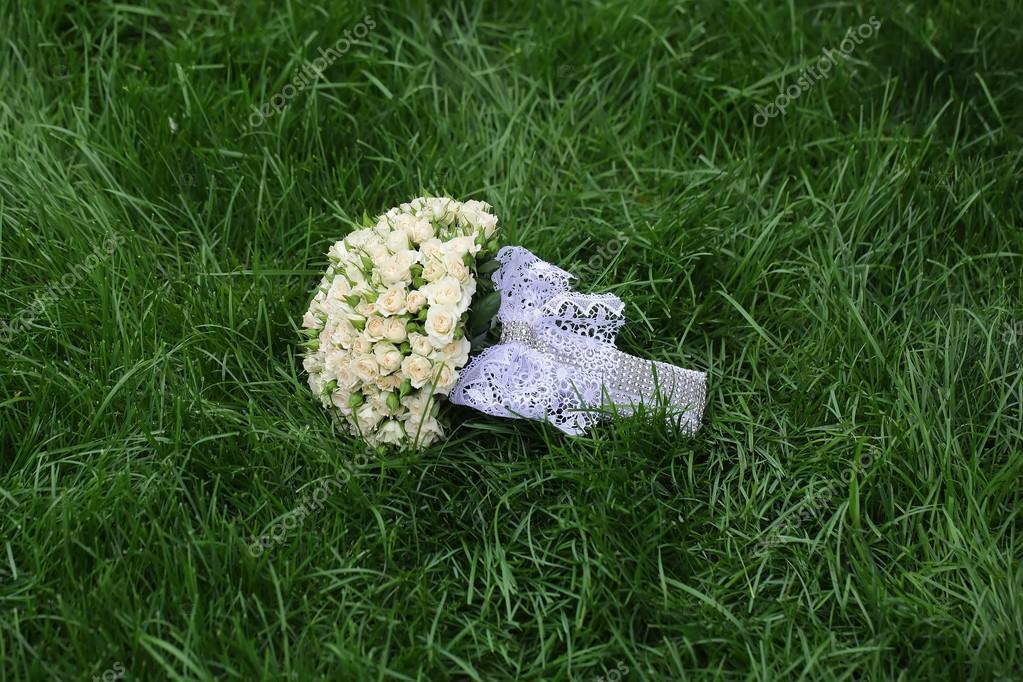 Wedding flowers on grass