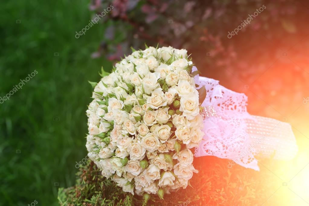 Wedding flowers on grass