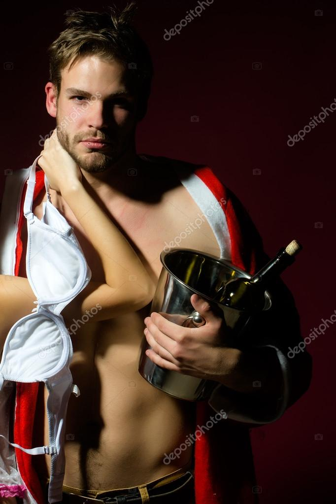 New year sensual couple with wine