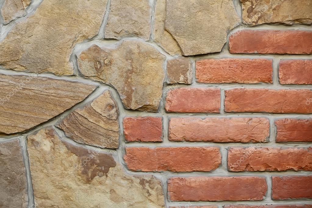Parete di pietra e mattoni senza giunte foto stock for Mattoni e pietra americani