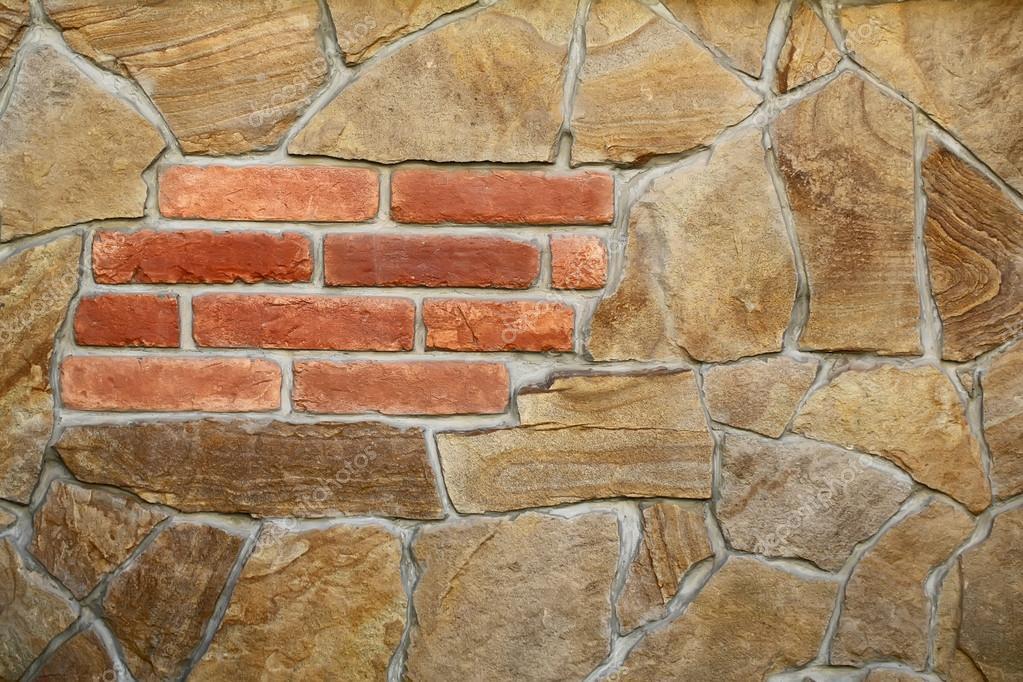 Parete di pietra e mattoni senza giunte — Foto Stock © Tverdohlib.com #91039980