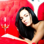 Photo Glamour woman with wine