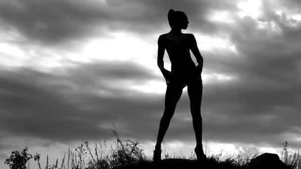 slender girl photo model posing for a photo shoot on the background of a cloudy sky on the field, black and white video, the silhouette of a woman