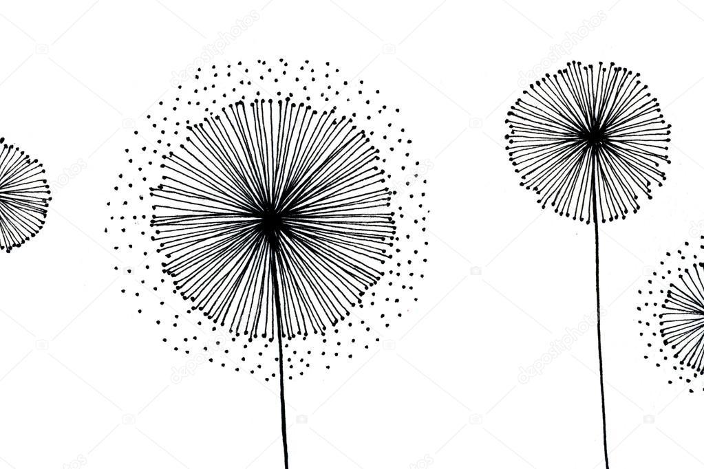 Blowballs surreal fantasy pen-and-ink drawing