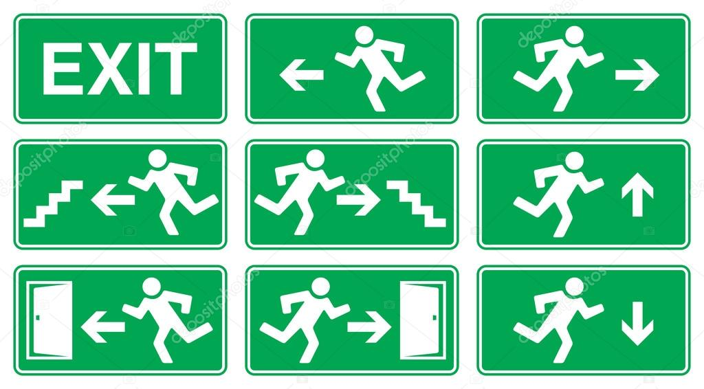 Green Emergency Exit Sign Icon And Symbol Set Stock Vector