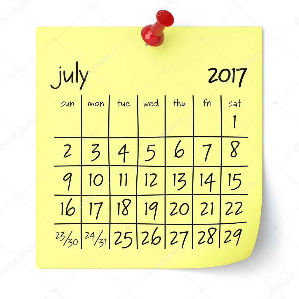July 2017 - Calendar — Stock Photo © klenger #123884256