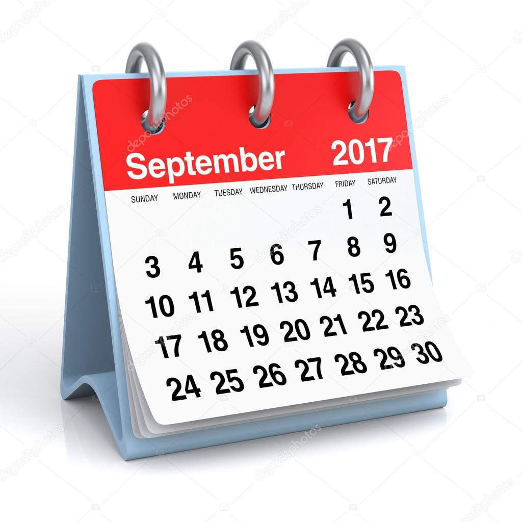 Photography Calendar 2017 : September desktop spiral calendar — stock photo