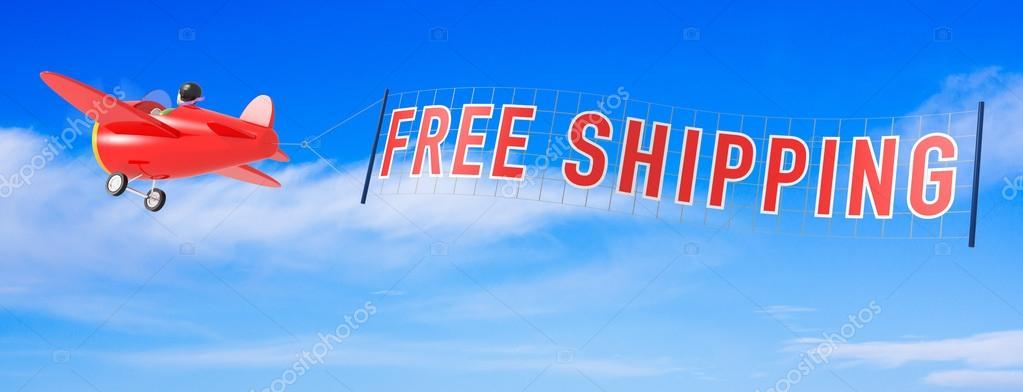 Cartone animato aeroplani con banner spedizione gratuita