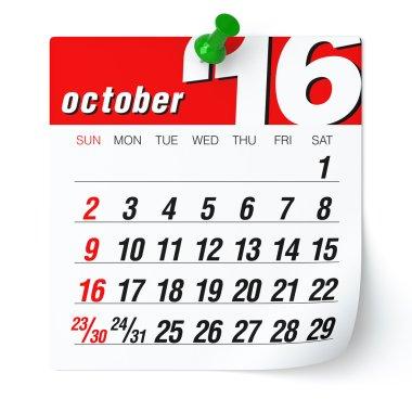 October 2016 - Calendar.