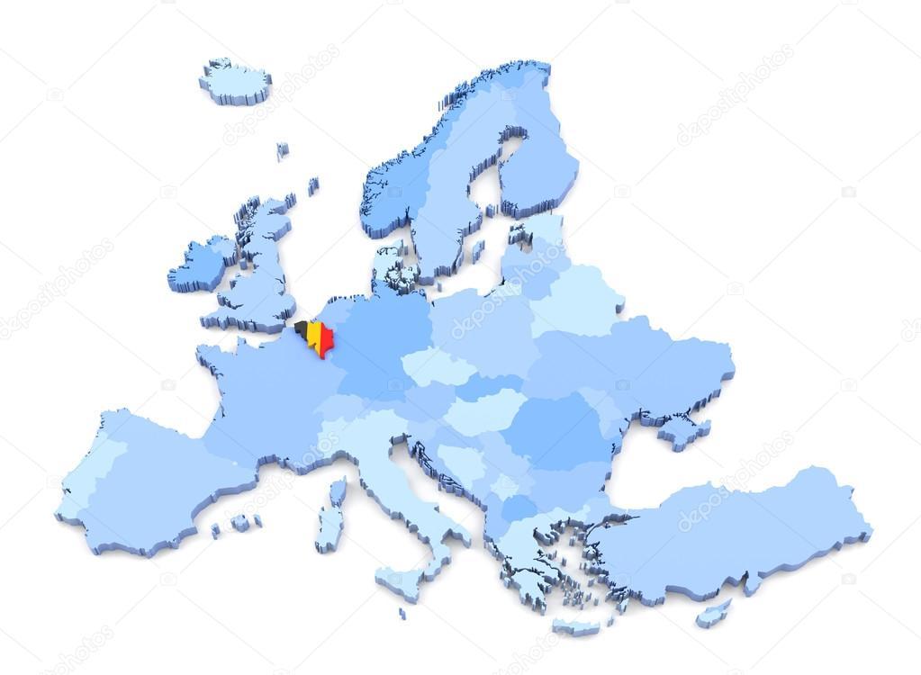 Europe Map Belgium With Flag Stock Photo C Klenger 90696812