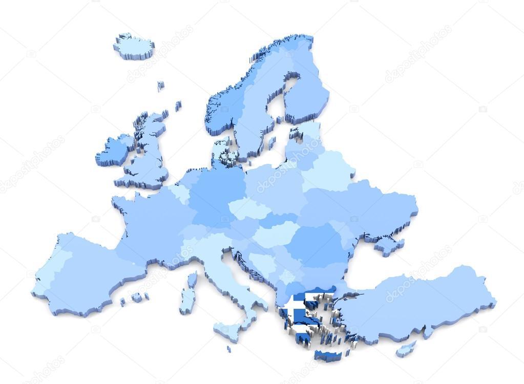 Karta Europa Grekland.Europa Karta Grekland Med Flagga Stockfotografi C Klenger 90697200