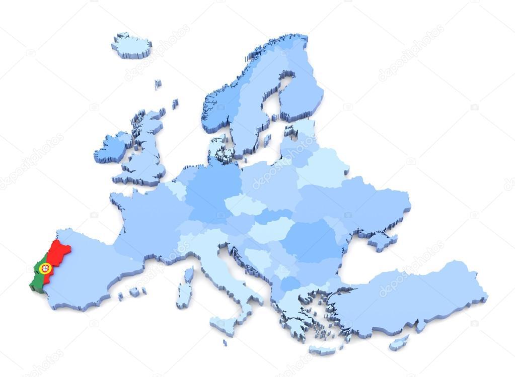 Karta Europa Portugal.Europa Karta Portugal Med Flagga Stockfotografi C Klenger 90697682