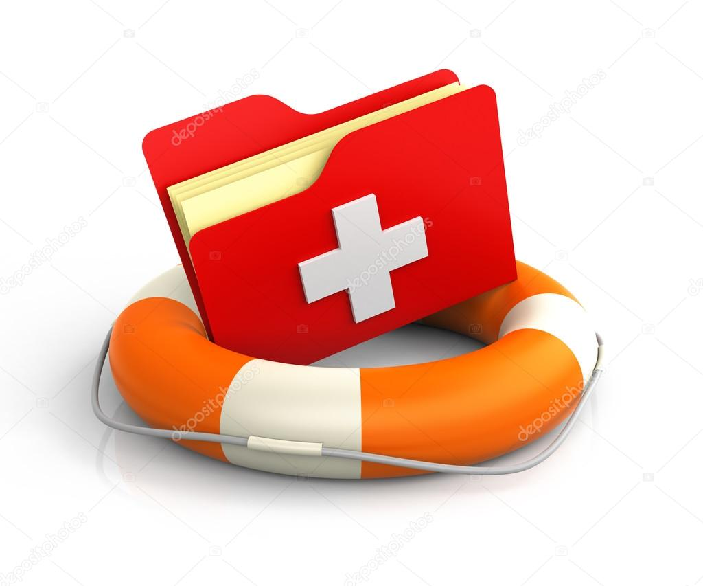 Data Folders In Life Buoy With First Aid Symbol Rescuing Your F