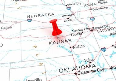 Red Thumbtack Over Kansas State USA Map