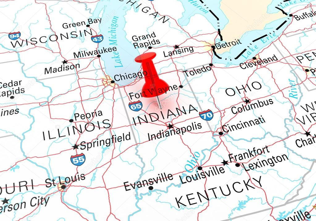 Red Thumbtack Over Indiana State USA Map — Stock Photo ... on usa map in new jersey, texas in indiana, home in indiana, butterflies in indiana, weather in indiana, dinosaurs in indiana, zip code map in indiana, animals in indiana, transportation in indiana, usa map in miami, star in indiana,