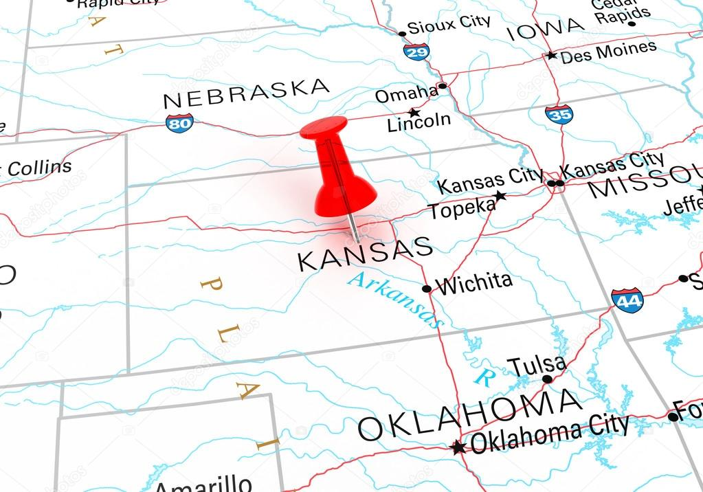 Red Thumbtack Over Kansas State USA Map — Stock Photo © klenger on usa map in miami, statue of liberty in kansas, usa map kansas city, zip code map in kansas, animals in kansas, dinosaurs in kansas, weather in kansas,